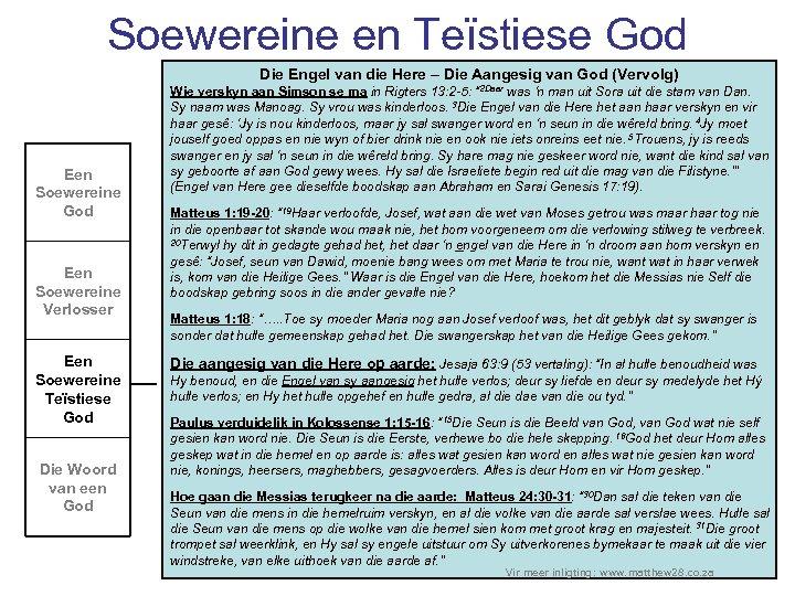 Soewereine en Teïstiese God Die Engel van die Here – Die Aangesig van God