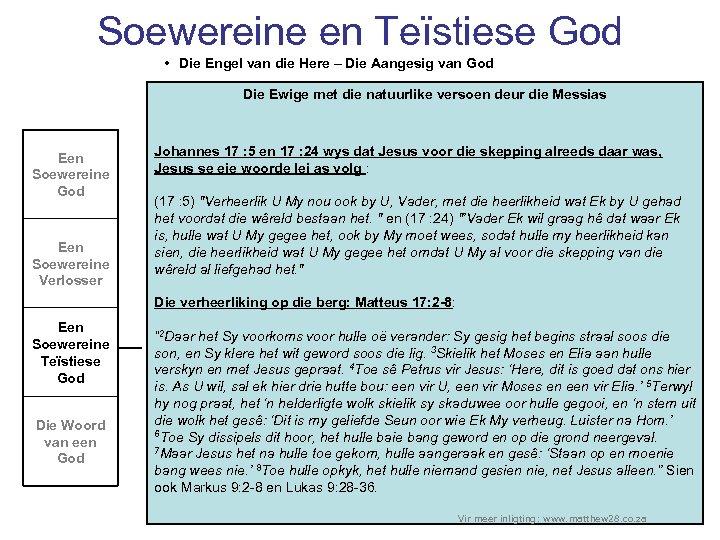 Soewereine en Teïstiese God • Die Engel van die Here – Die Aangesig van