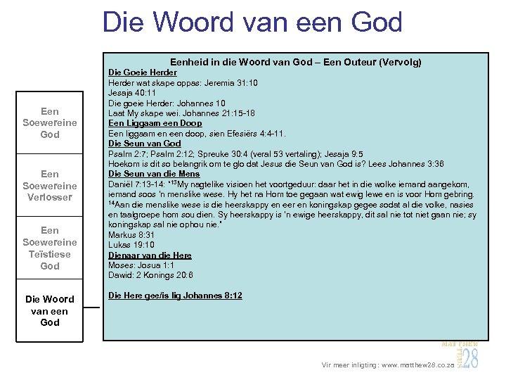 Die Woord van een God Eenheid in die Woord van God – Een Outeur
