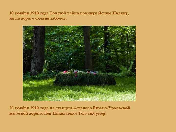 10 ноября 1910 года Толстой тайно покинул Ясную Поляну, но по дороге сильно заболел.