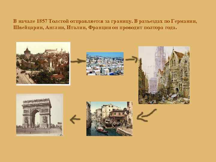 В начале 1857 Толстой отправляется за границу. В разъездах по Германии, Швейцарии, Англии, Италии,