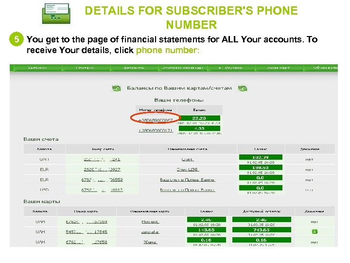 DETAILS FOR SUBSCRIBER'S PHONE NUMBER 5 You get to the page of financial statements