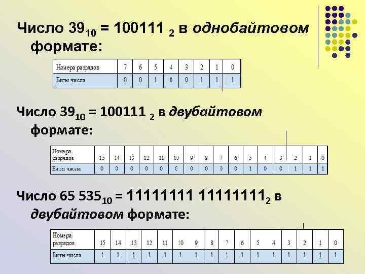 Число 3910 = 100111 2 в однобайтовом формате: Число 3910 = 100111 2 в