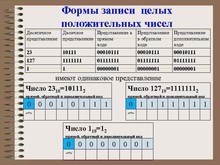 Формы записи целых положительных чисел Десятичное представление Двоичное Представление в представление прямом коде Представление