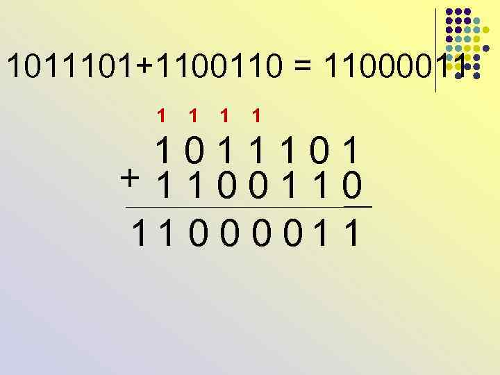 1011101+1100110 = 11000011 1 1 0 1 + 1 1 0 0 1 1