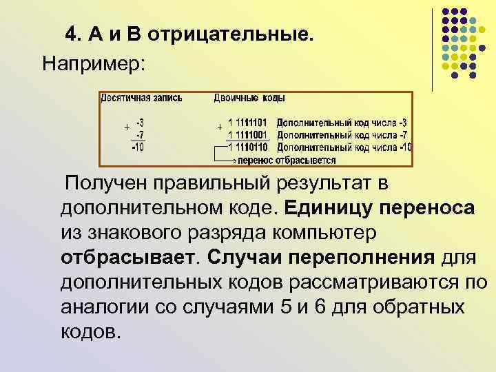 4. А и В отрицательные. Например: Получен правильный результат в дополнительном коде. Единицу
