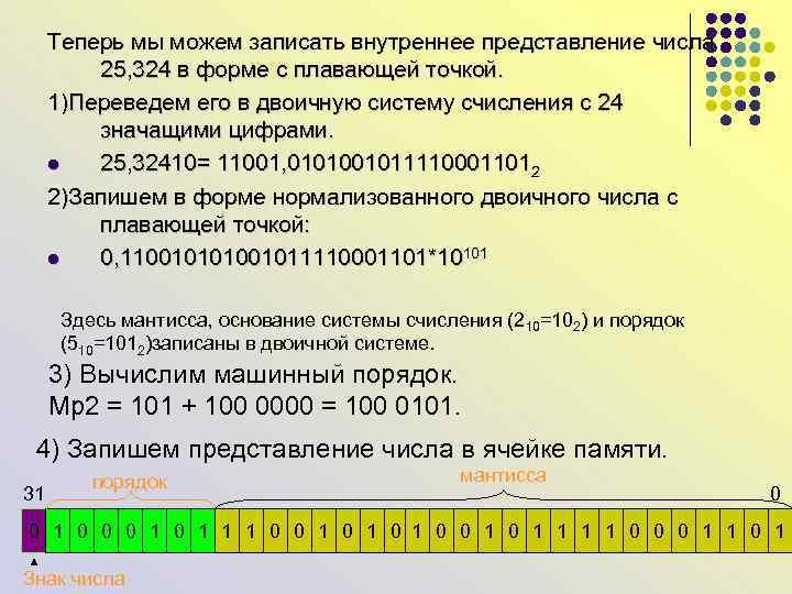 Теперь мы можем записать внутреннее представление числа 25, 324 в форме с плавающей точкой.