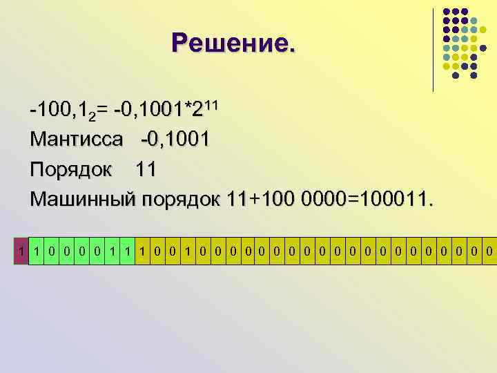 Решение. -100, 12= -0, 1001*211 Мантисса -0, 1001 Порядок 11 Машинный порядок 11+100 0000=100011.