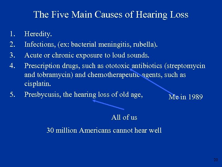 The Five Main Causes of Hearing Loss 1. 2. 3. 4. 5. Heredity. Infections,