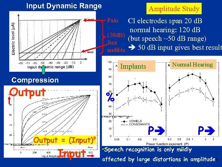 Input Dynamic Range Amplitude Study CI electrodes span 20 d. B normal hearing: 120