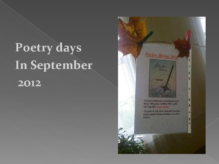 Poetry days In September 2012