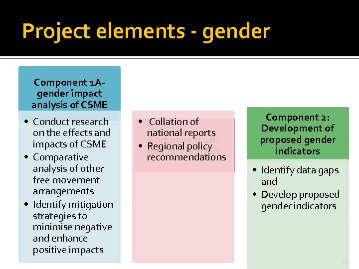 Project elements - gender Component 1 Agender impact analysis of CSME • Conduct research