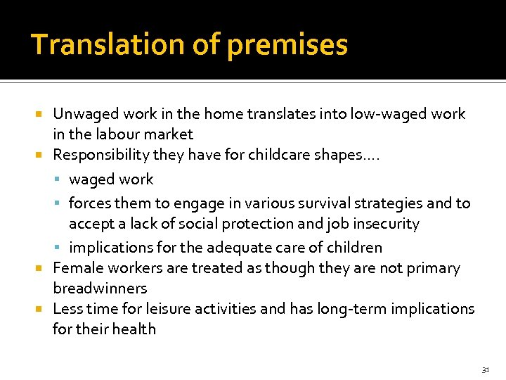 Translation of premises Unwaged work in the home translates into low-waged work in the