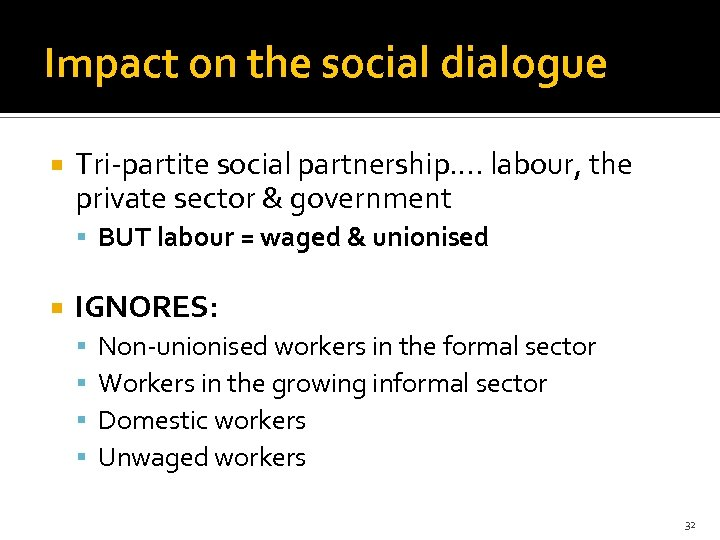 Impact on the social dialogue Tri-partite social partnership…. labour, the private sector & government