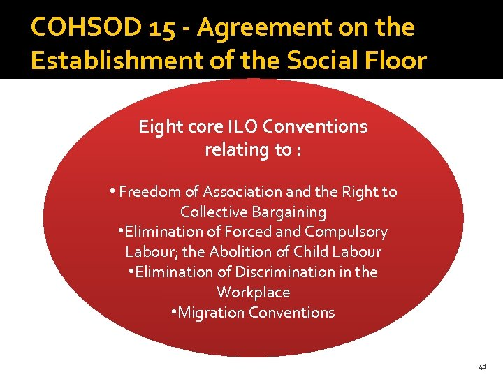 COHSOD 15 - Agreement on the Establishment of the Social Floor Eight core ILO