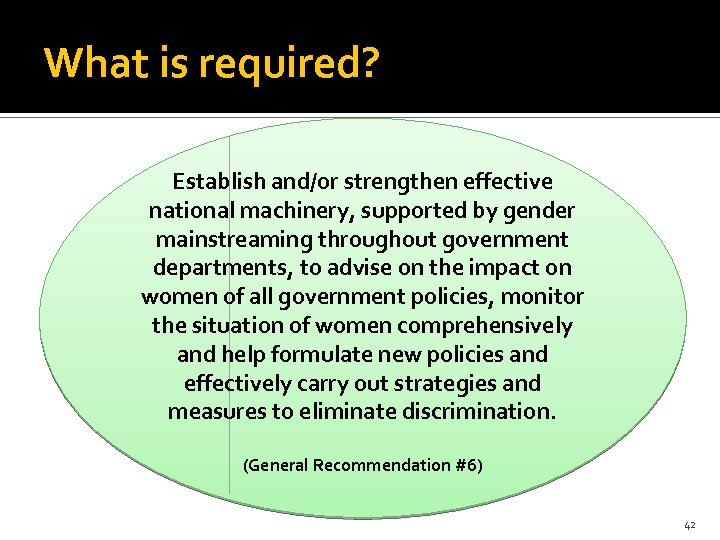 What is required? Establish and/or strengthen effective national machinery, supported by gender mainstreaming throughout