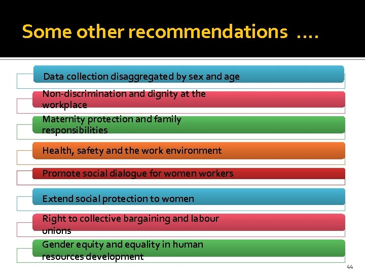 Some other recommendations. . Data collection disaggregated by sex and age Non-discrimination and dignity