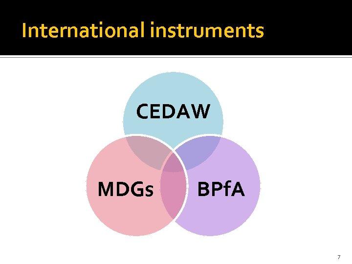 International instruments CEDAW MDGs BPf. A 7