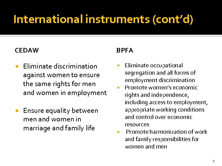 International instruments (cont'd) CEDAW Eliminate discrimination against women to ensure the same rights for