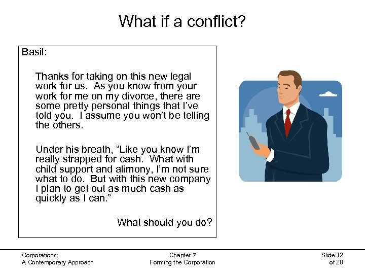 What if a conflict? Basil: Thanks for taking on this new legal work for