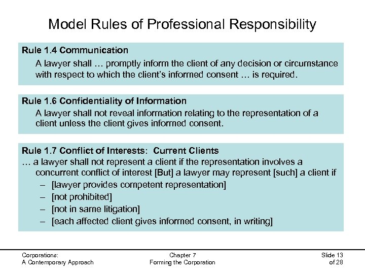 Model Rules of Professional Responsibility Rule 1. 4 Communication A lawyer shall … promptly