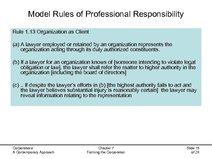 Model Rules of Professional Responsibility Rule 1. 13 Organization as Client (a) A lawyer