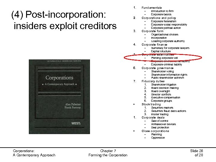 (4) Post-incorporation: insiders exploit creditors 1. Fundamentals – – 2. Corporations and policy –