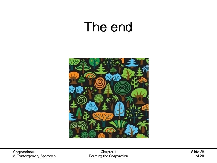 The end Corporations: A Contemporary Approach Chapter 7 Forming the Corporation Slide 29 of