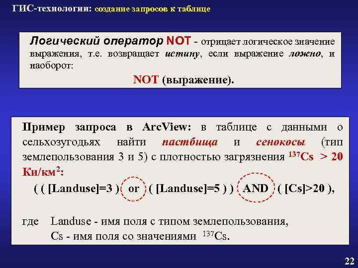 ГИС-технологии: создание запросов к таблице Логический оператор NOT - отрицает логическое значение выражения, т.
