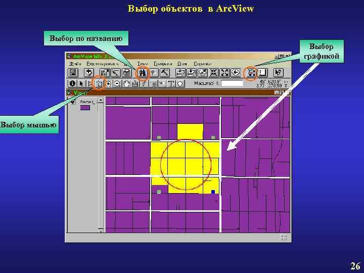 Выбор объектов в Arc. View Выбор по названию Выбор графикой Выбор мышью 26