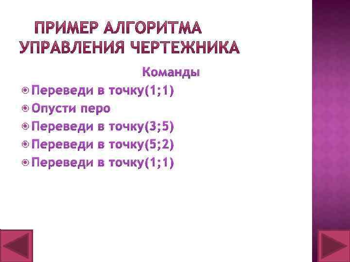 Команды Переведи в точку(1; 1) Опусти перо Переведи в точку(3; 5) Переведи в точку(5;
