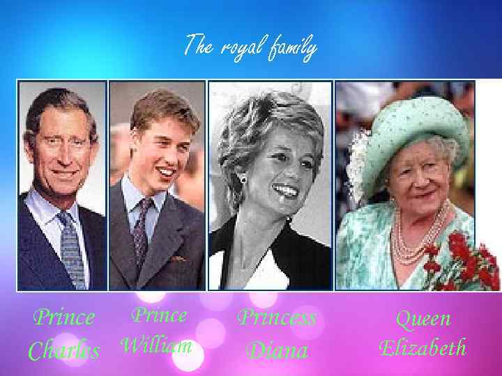 The royal family Prince Charles William Princess Diana Queen Elizabeth
