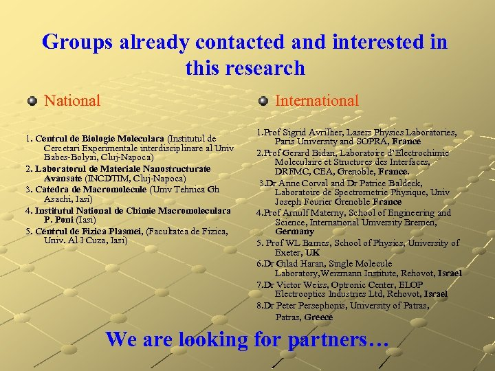 Groups already contacted and interested in this research National International 1. Centrul de Biologie