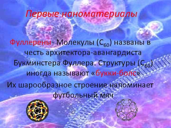 Первые наноматериалы Фуллерены- Молекулы (С 60) названы в честь архитектора-авангардиста Букминстера Фуллера. Структуры (С