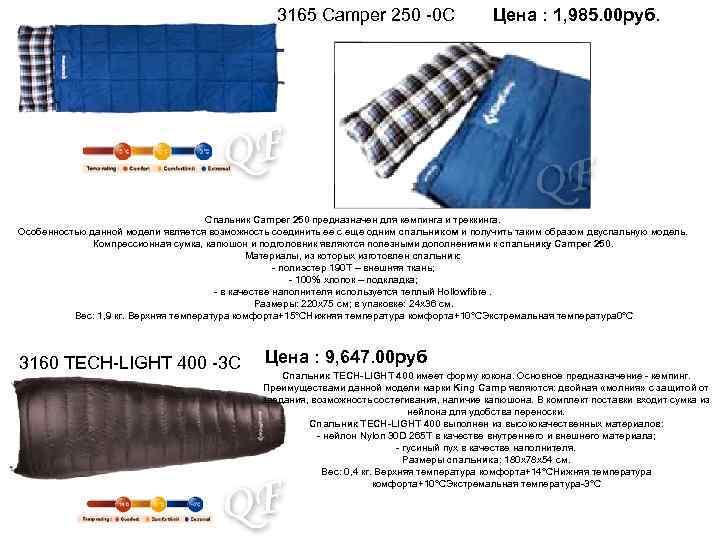 3165 Camper 250 -0 С Цена : 1, 985. 00 руб. Спальник Camper 250