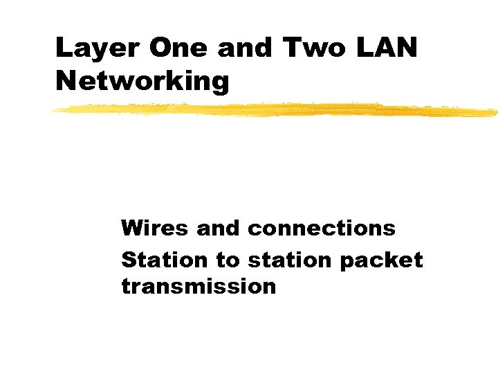 Layer One and Two LAN Networking Wires and connections Station to station packet transmission