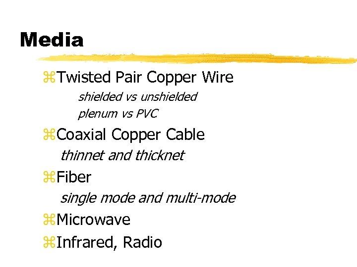 Media z. Twisted Pair Copper Wire shielded vs unshielded plenum vs PVC z. Coaxial