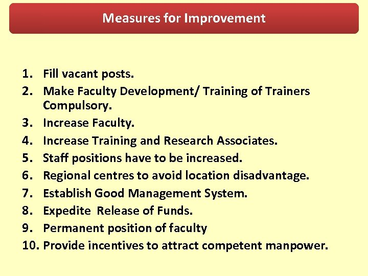 Measures for Improvement 1. Fill vacant posts. 2. Make Faculty Development/ Training of Trainers