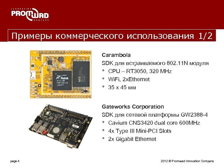 Примеры коммерческого использования 1/2 Carambola SDK для встраиваемого 802. 11 N модуля • CPU