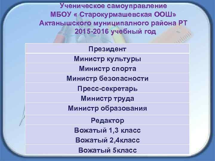 Ученическое самоуправление МБОУ « Старокурмашевская ООШ» Актанышского муниципалного района РТ 2015 -2016 учебный год