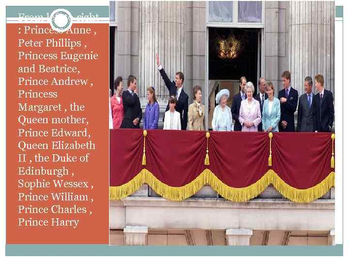 From left to right : Princess Anne , Peter Phillips , Princess Eugenie and