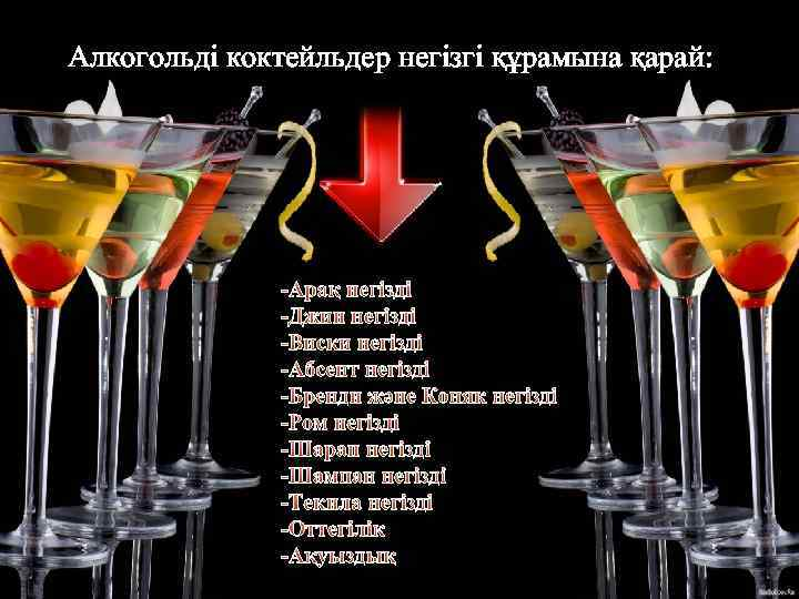 Алкогольді коктейльдер негізгі құрамына қарай: -Арақ негізді -Джин негізді -Виски негізді -Абсент негізді -Бренди