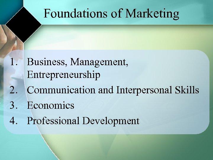 Foundations of Marketing 1. Business, Management, Entrepreneurship 2. Communication and Interpersonal Skills 3. Economics