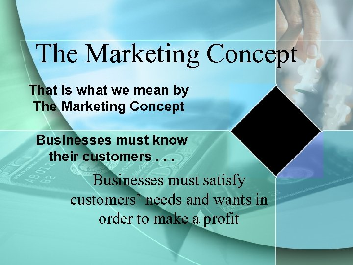 The Marketing Concept That is what we mean by The Marketing Concept Businesses must