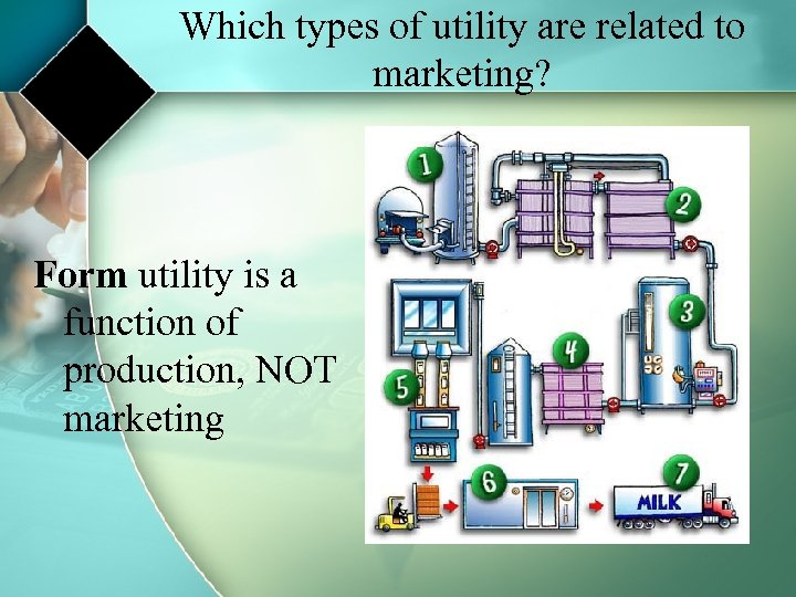 Which types of utility are related to marketing? Form utility is a function of