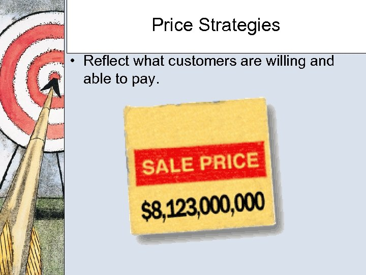 Price Strategies • Reflect what customers are willing and able to pay.