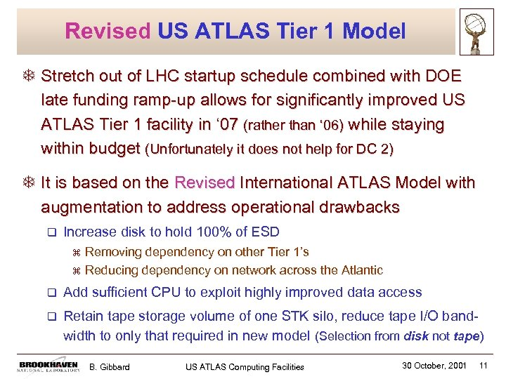 Revised US ATLAS Tier 1 Model T Stretch out of LHC startup schedule combined