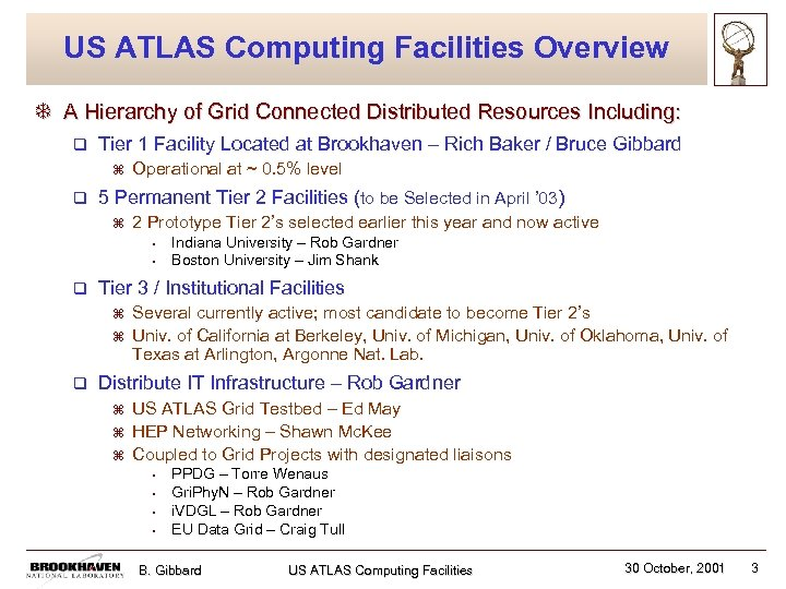 US ATLAS Computing Facilities Overview T A Hierarchy of Grid Connected Distributed Resources Including:
