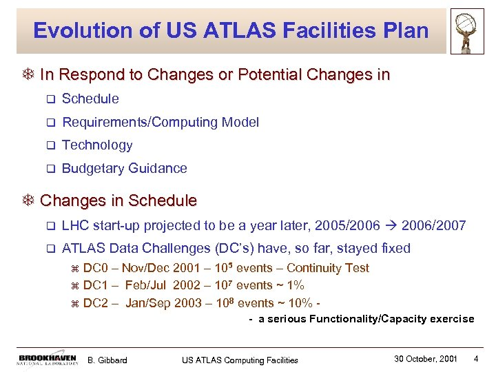 Evolution of US ATLAS Facilities Plan T In Respond to Changes or Potential Changes