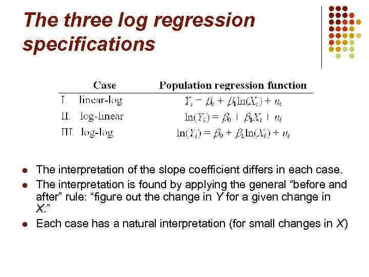 The three log regression specifications l l l The interpretation of the slope coefficient